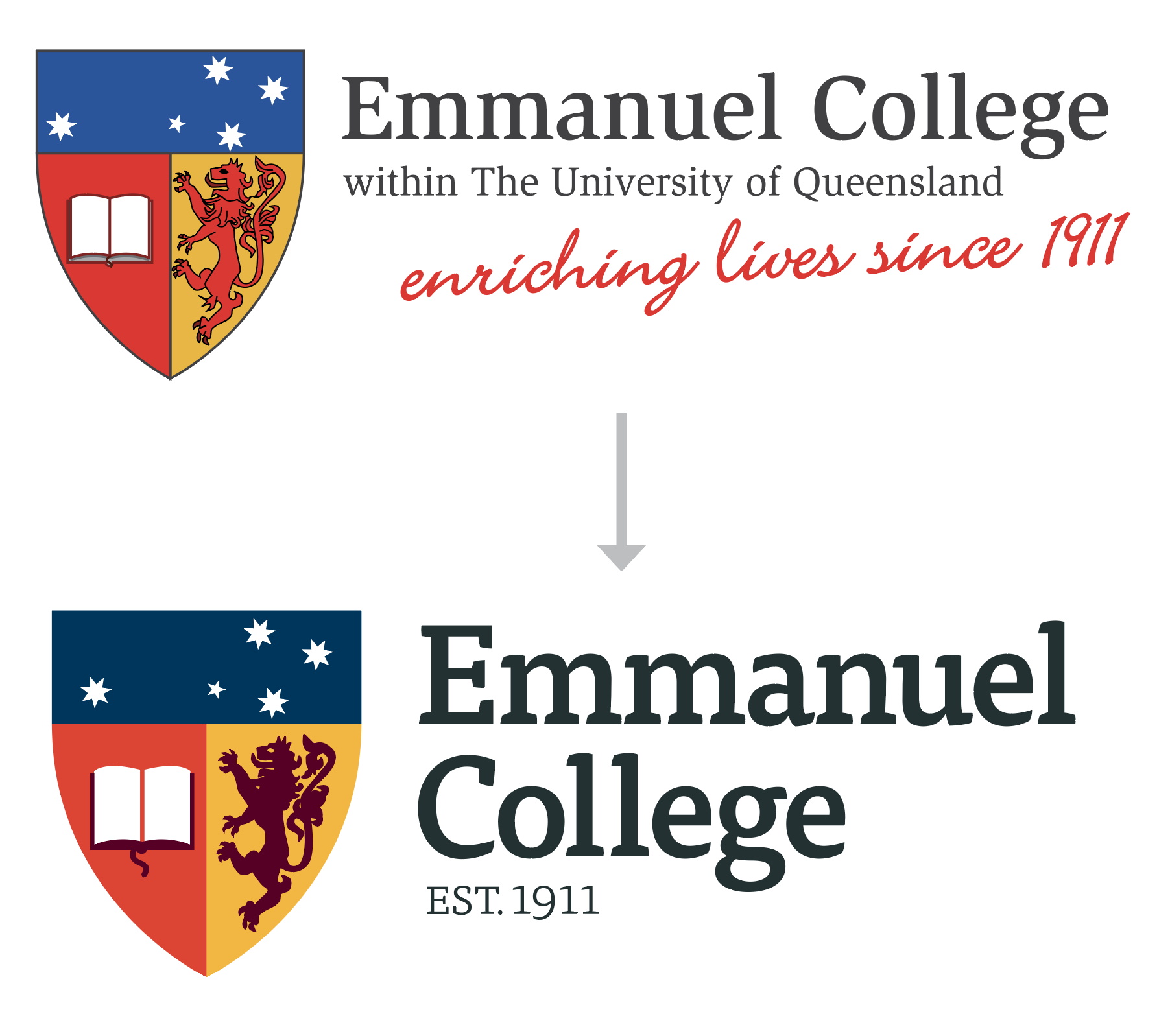 Emmanuel College logo before and after rebrand
